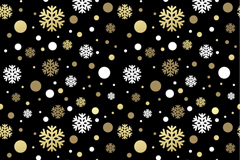 Gold and white snowflakes seamless background vector