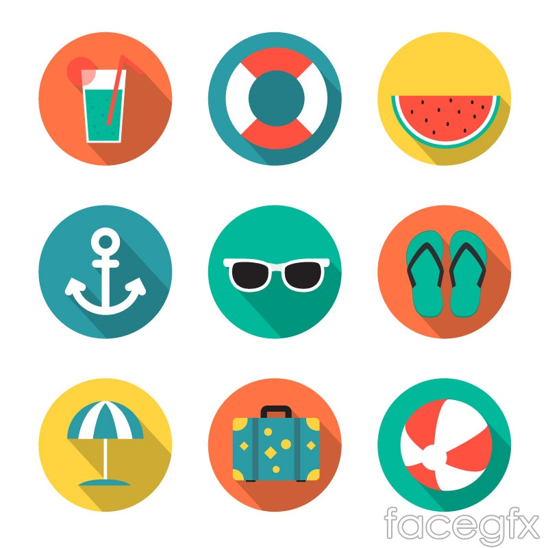 9 Round Holiday Icon Vector