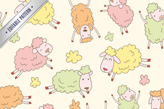 Colorful cartoon sheep seamless vector background