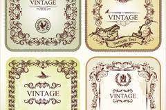 4 vintage lace card vector