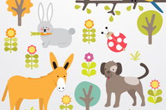 Plant and animal vector illustration cartoon