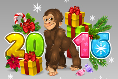 2016 cute monkey card vector