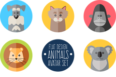 8 round animals icon vector