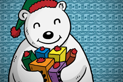 Cartoon holding gift polar bear vector