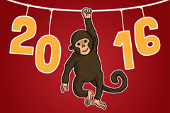 2016 monkey fun card vector