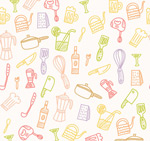 Kitchen supplies seamless background vector