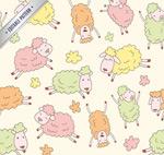 Cartoon sheep seamless background vector