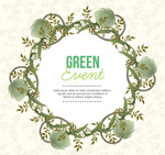 Branches of the vine wreath background vector