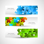 Color puzzle banner vector