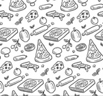 Hand-painted pizzas seamless background vector