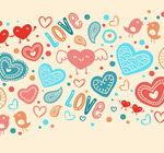 Love elements seamless background vector