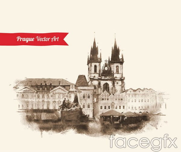 European architectural painting vector