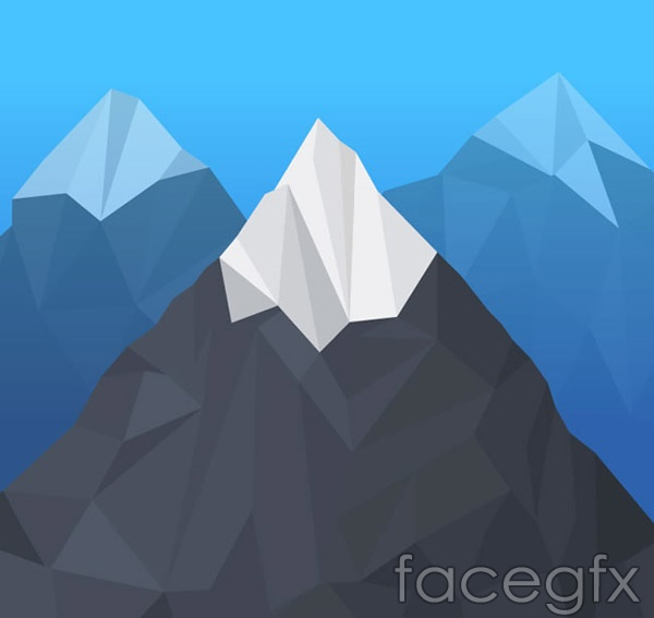 Geometric-shaped snow mountain vector
