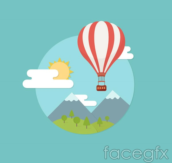 Hot-air balloons and scenic vector