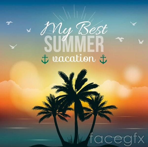 Summer Palm tree Island illustrations vector