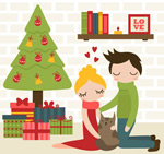 Cartoon Christmas couple vector