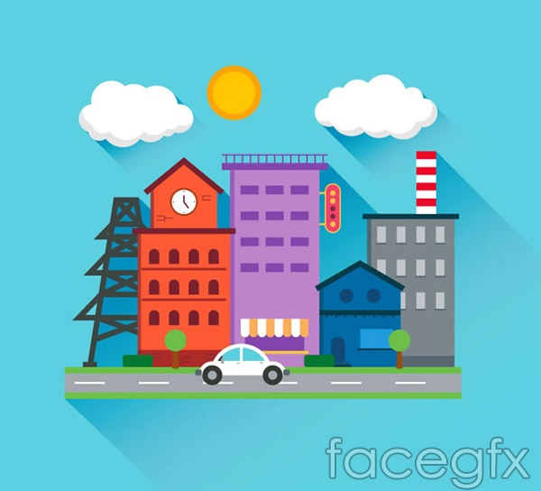 Flat roadside buildings vector