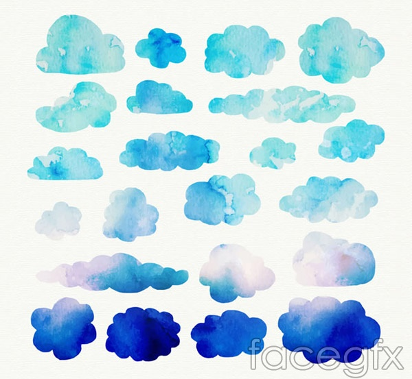 Blue water clouds vector