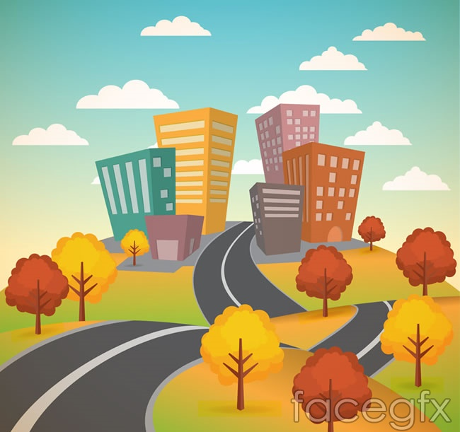 Road building scenery vector