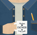 Mug for father's Day greeting card vector