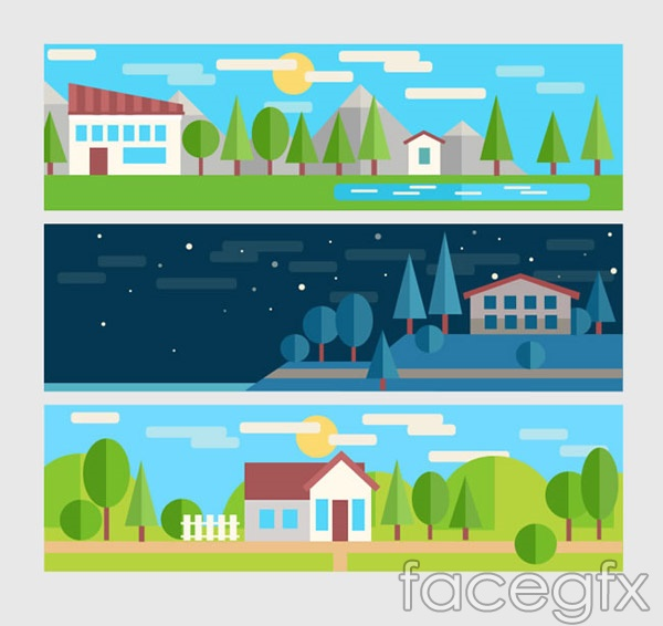Natural buildings vector