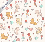 Cartoon cat seamless background vector