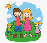 Painting family illustration vector