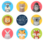 Round animal icons vector
