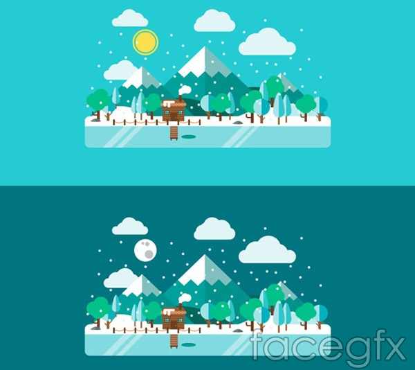Mountain winter lake views vector