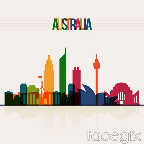Australia city silhouette vector