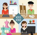 Working woman vector