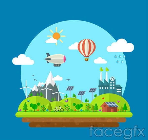 Cartoon green cities vector
