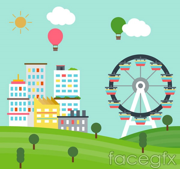 Ferris wheel and building vector