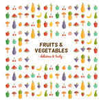 Fruit and vegetable seamless background vector