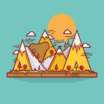 Mountain bear illustrations vector