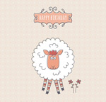Painted sheep birthday cards vector