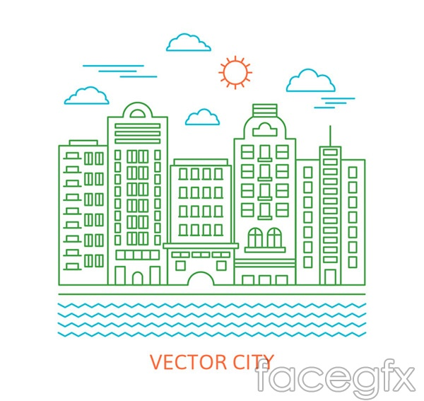 River cities construction vector