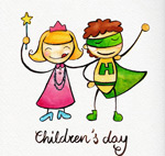 Cartoon children's painting vector