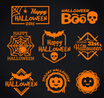 Orange Halloween labels vector