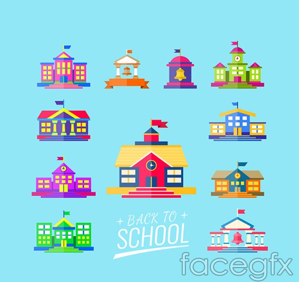 Colored campus buildings vector