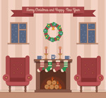 Living room Christmas vectors
