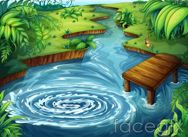 Wooden cartoon pond landscape vector
