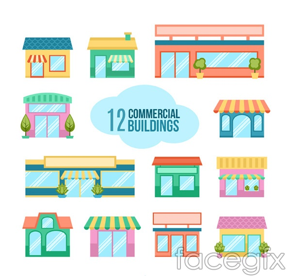 Cartoon shop design vector