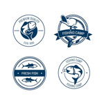 Fishing camp labels vector