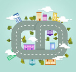 Ring road plan vector