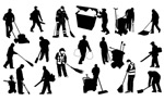 Sanitation workers silhouettes vector