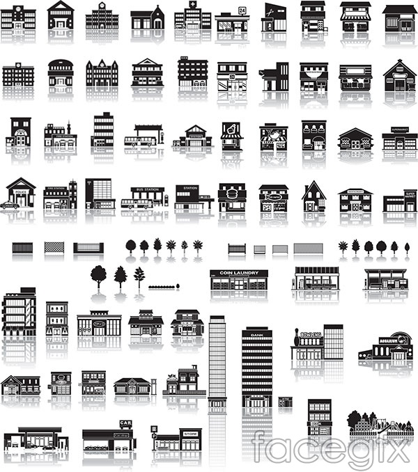 Black and white building vector