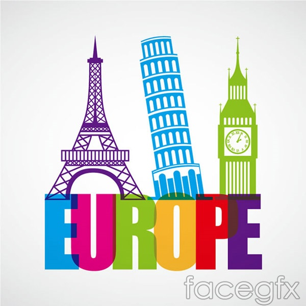 Famous buildings in Europe vector