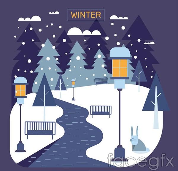 Winter Street scene vector