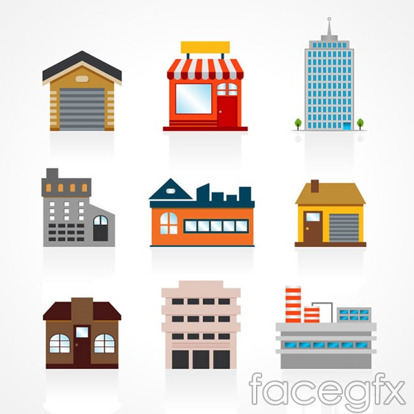 Colored building vector